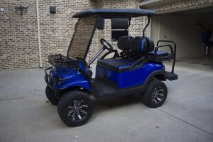 Epic Carts Side View of Custom Blue Cart
