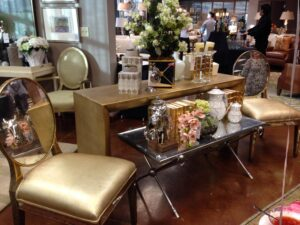 IBB- gold and mirrored chairs and tables