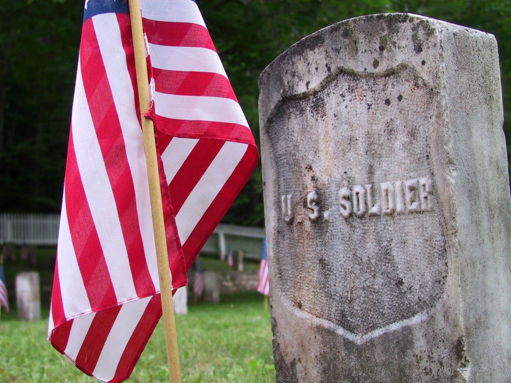 memorial day us flag and headstone of unknown solidier