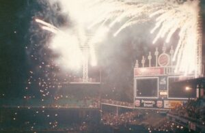 Bill Veeck's wild invention, the Exploding Scoreboard, circa 1960.