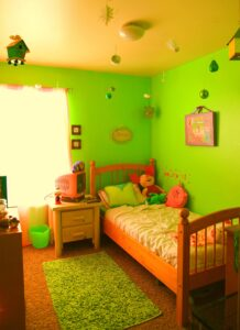 kids room in green