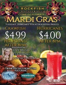 Mardi Gras celebration at Rockfish Seafood & Grill - Frisco, TX