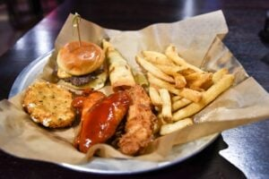 Sampler of foods at Strikz(Photo by Bruce Chandler)