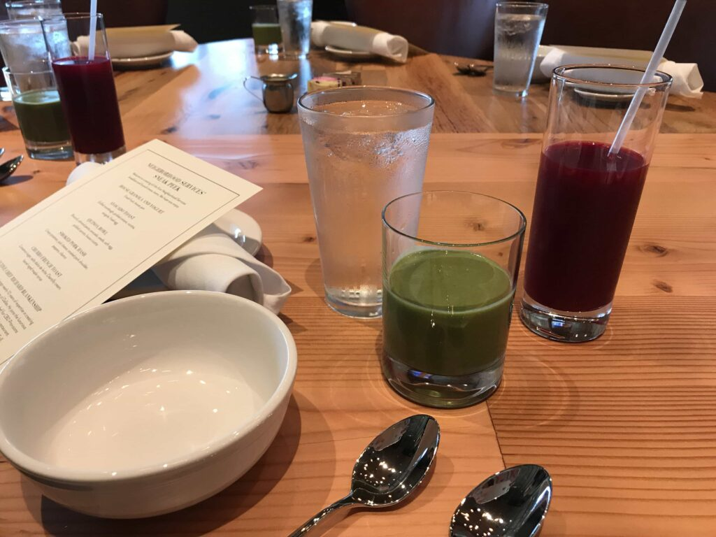 Neighborhood Services avocado smoothie and beet juice